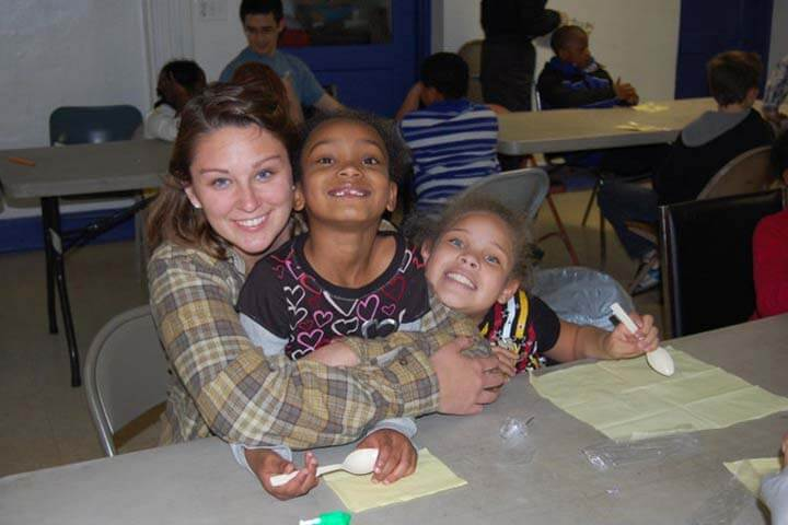 Homework help,hugs, and food  as team serves in Charleston, WV.